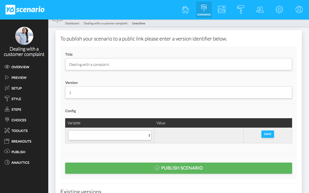 A screenshot of the publish form